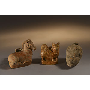 Magenta Ware vessels (horse, maltese dog, negroid head)