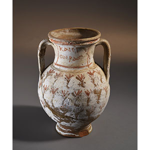 Small amphora with polychrome decoration on a white ground