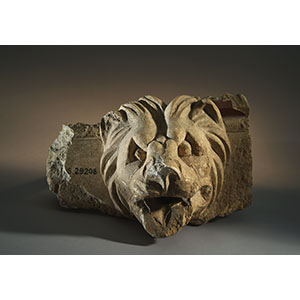 Fragment of an architectural cornice with a lion protome dripstone