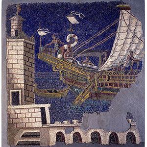 Wall mosaic with a port scene