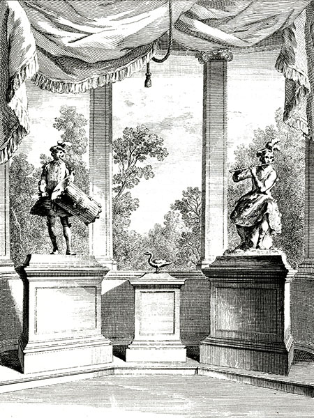 The Tambourine Player, the Duck and the Flute Player created by Jacques de Vaucanson in a 18th-century plate.