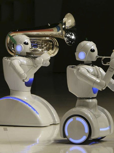 A performance of music playing robots developed by Toyota Motor Corp.