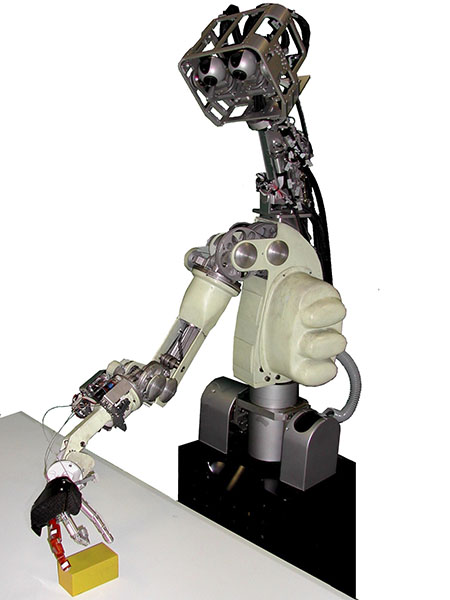 DEXTER. This robot is able to navigate in domestic environments avoiding obstacles, to grasp and manipulate objects.