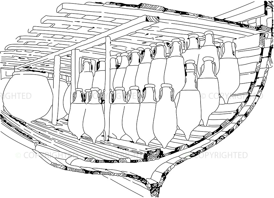 Cross-section of the hull of a cargo ship
