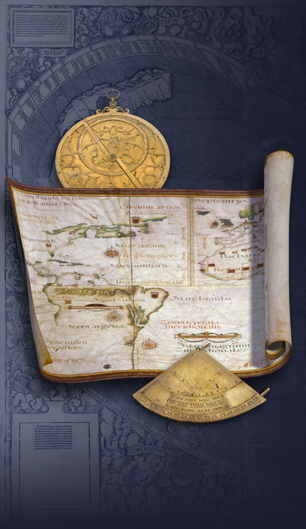 Astrolabe, quadrant, and sea chart